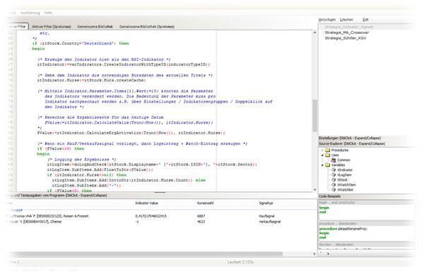 Scripting-Studio zur Programmierung eigener Filter und Indikatoren