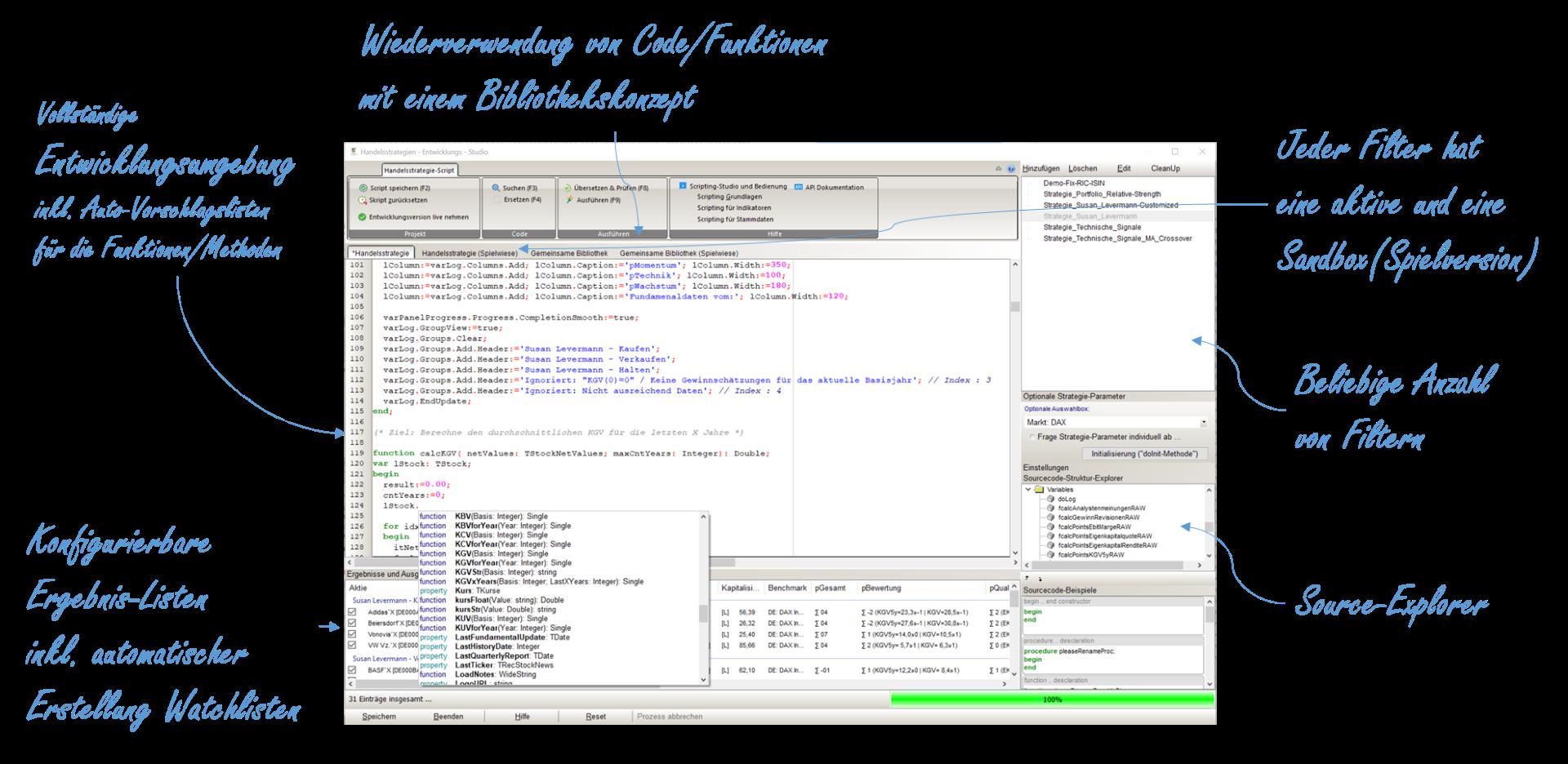 Shareholder Börsensoftware Scripting-Studio für die Entwicklung eigener Handelsstrategien und Filter-Systemen. RMI, Arron, RSI und alle anderen Indikatoren können dabei vollständig genutzt werden.